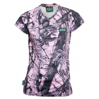 Ridgeline Womans Breeze V Tee - Pink Camo