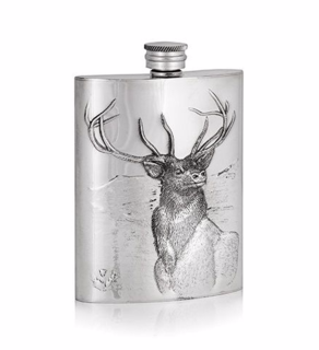 A E Williams Pewter 6oz Luxury Stag Hip Flask - Stag