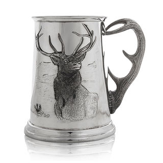 Pewter Stag Tankard with Antler Handle