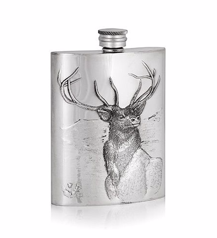Pewter 6oz Luxury Stag Hip Flask - Stag