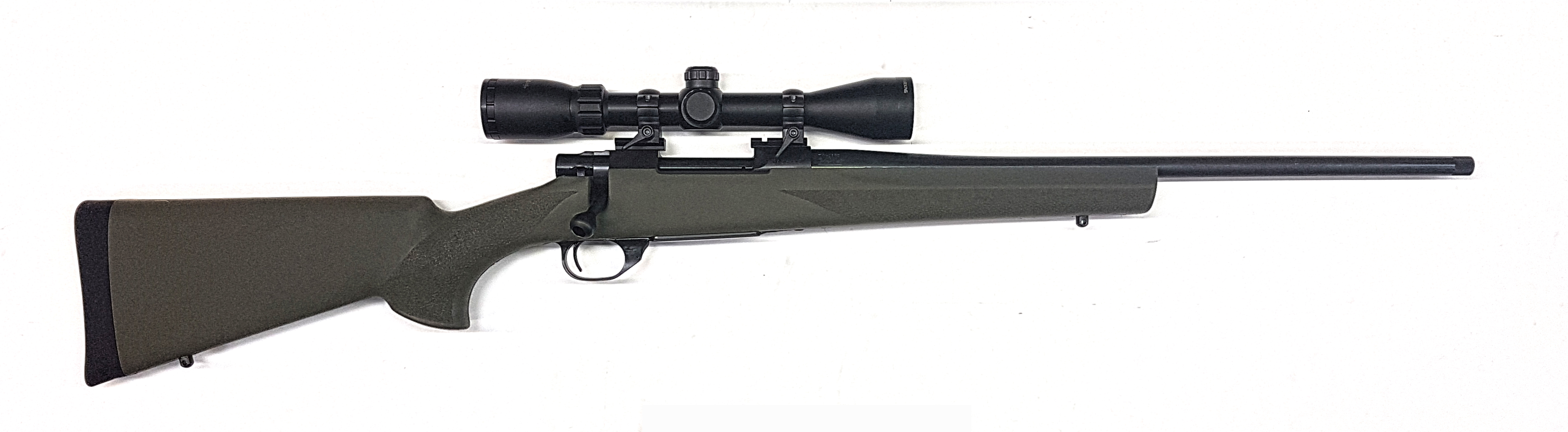 Howa Mod 1500 Blued Green Hogue Rifle threaded with Scope
