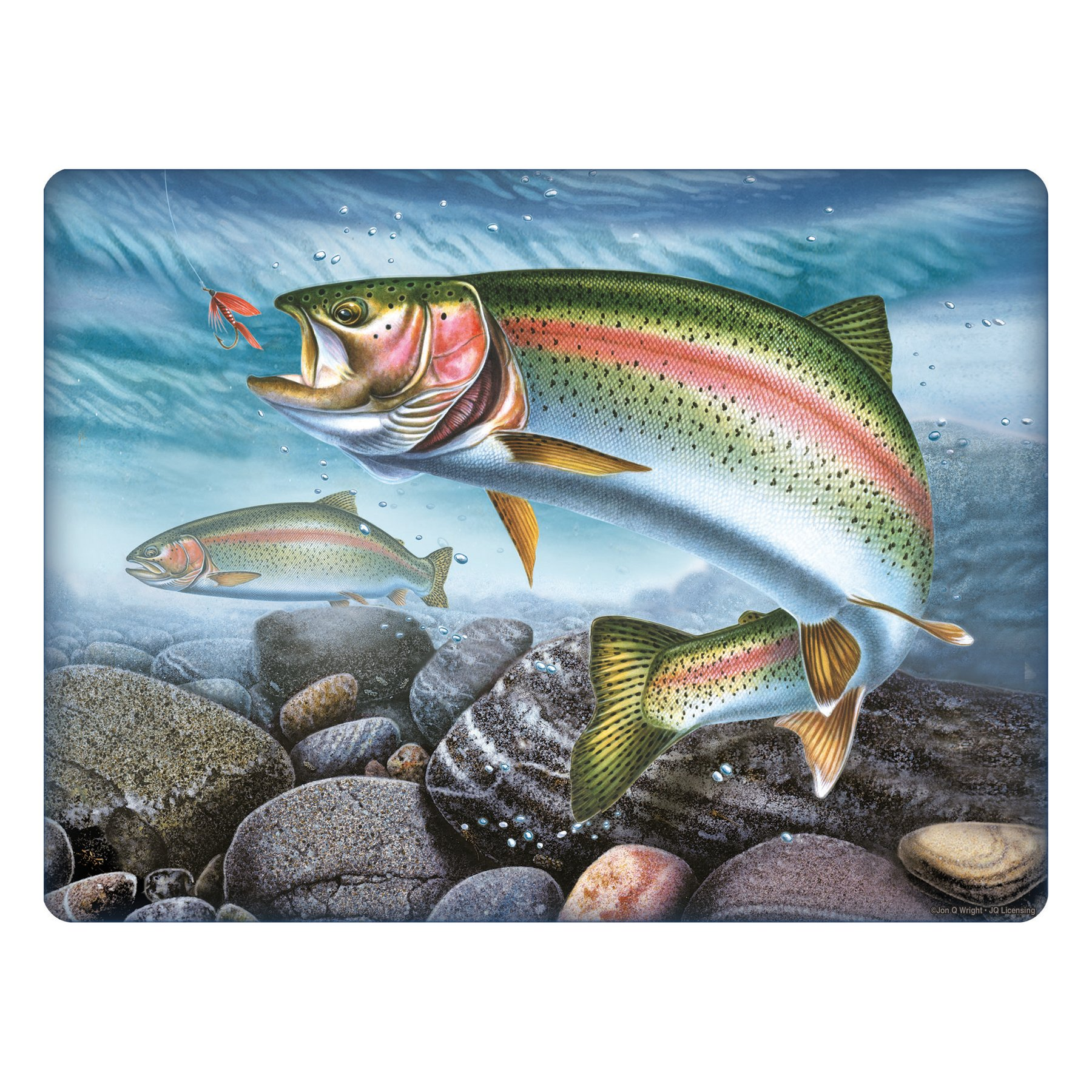 Rivers Edge - Tampered Glass Cutting Board 12in x 16in Rainbow Trout